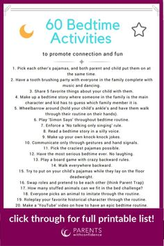 Bedtime struggles are common with kids. Learn the secret to getting your child asleep easier and grab a free printable list of calming bedtime routine activities. # Parenting tips 60 Fun and Calming Activities to Make Bedtime Unbelievably Easy Gentle Parenting, Parenting Advice, Kids And Parenting, Peaceful Parenting, Parenting Quotes, Practical Parenting, Parenting Classes, Calming Activities, Toddler Activities