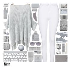 """""""SheInside Grey Loose Sweater"""" by xgracieeee ❤ liked on Polyvore featuring Mode, Topshop, Holga, Prism, Christian Dior, Clinique, Karlsson, Nails Inc., NIKE und Noee"""