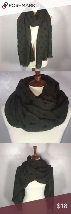 """Olive Green Skull Scarf Lightweight woven scarf in olive green with black skulls. Measures 30"""" Wide x 82"""" Long Gently Used Excellent Condition   Please ask all questions before you buy 😊 No Modeling  No Trades Accessories Scarves & Wraps"""