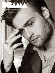 British actor Douglas Booth photographed by Ram Shergill for the latest issue of DRAMA , styled by Magdalena Marciniak , make u.