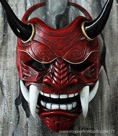 Samurai Assassin Demon Oni BB Gun Airsoft Masque, Halloween Costume Cosplay Ninja Warrior Devil Evil Hannya Kabuki Home Decor Wall Mask - - Assassin, Hannya Samurai, Oni Maske, Airsoft Girls, Samourai Tattoo, Chinese Mask, Chinese Demon, Maske Halloween, Arte Ninja