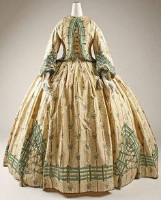 Dress -- 1862 -- French -- Silk -- Metropolitan Museum of Art Costume Institute Civil War Fashion, 1800s Fashion, 19th Century Fashion, Victorian Fashion, Vintage Fashion, Victorian Dresses, Emo Fashion, Club Fashion, Victorian Gothic