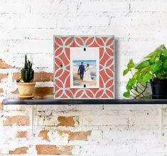 Farmhouse Tile Home Decor Reclaimed Rustic Wood 4x6 Picture Frame | Coral Colored pattern over Turquoise washed wood | Wedding Gift #FarmhouseHomeDecor #BarnwoodFrame #4x6Picture #BeachFrames #ReclaimedWood #FarmhouseWallDecor #PictureFrame #BabysFirst #ReclaimedWoodFrame #ChristmasWallDecor Reclaimed Wood Picture Frames, 4x6 Picture Frames, Picture On Wood, Beach Frame, Frame Stand, Simple Pictures, Wedding In The Woods, How To Distress Wood, Tile Patterns