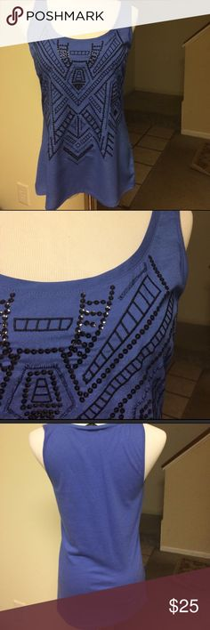NWT | Express | Embellished Aztec Top Blouse is a very pretty periwinkle blue color with an Embroidered and sequined Aztec design. New with tags. Express Tops