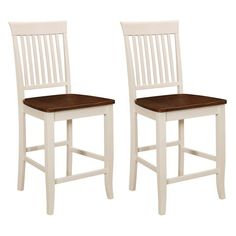 Emerald Home Cape May Slat Back Counter Height Stool - Set of 2 - EMER954