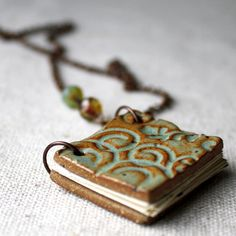 SALE Bohemian ceramic book necklace by kylieparry on Etsy