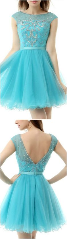 Enchanted 2016 Homecoming Dresses, Prom Dress, Pool A-Line Scoop Neck Short Tulle Prom Dress With Appliques Lace, Short/Mini A Line homecoming dress, 2016 homecoming dress. Find This Lovely Dress from GemGrace, Enjoy Free Shipping Today.