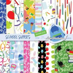 School supplies Digital  papersSeamlessBack to   Etsy Paper Background, Background Patterns, Bubble Alphabet, Cheetah Skin, Simple Collage, School Supplies, Craft Shop, Collage Sheet, Crafts For Kids