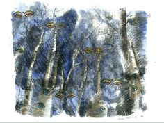 Aspen Eyes 13, 2008, by Carol Hummel (www.carolhummel.com) The eyes of the Aspen trees are beautiful and mysterious. This work on paper is one in a series created during my Colorado Art Ranch residency in Steamboat Springs.