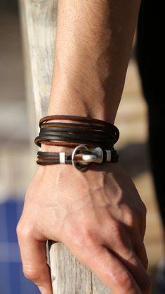 Boho leather wrap bracelet, womens leather bracelet , fashion jewelry, gift for her, girlfriend gift Handmade Leather Jewelry, Handmade Bracelets, Bracelets For Men, Fashion Bracelets, Fashion Jewelry, Leather Necklace, Leather Bracelets, Fitness Bracelet, That Way