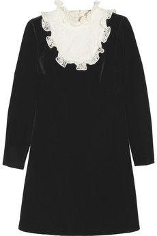 Sweet LBD for us. Saint Laurent Lace and velvet mini dress   NET-A-PORTER