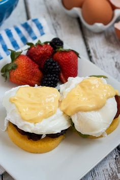 Polenta Cake Eggs Benedict #brunchweek from The Girl In The Little Red Kitchen