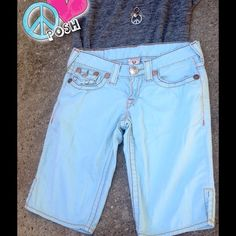 Light Blue True Religion Shorts  Light Blue True Religion Bermuda Style Shorts    Size 26'W   ✌️Please see ARROW for Disclosure ..Missing back Pocket Button✌ Preloved and selling as is  NO TRADE Negotiate, Yes !   ☮ Please use The Make Offer Tab ☮ True Religion Shorts Bermudas