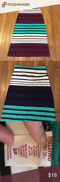 """Beautiful Striped Maxi Skirt Striped maxi skirt from Target. Green, ivory, navy blue with black stripes. Worn twice. EUC! Skirt is approx 38"""" in length. Mossimo Supply Co. Skirts Maxi"""