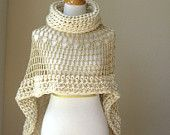 BEIGE bohemio PONCHO Crochet tejer crema capa chal cuello Boho Chic Hippie Capelet Chic femenino romántico otoño moda rizado Original