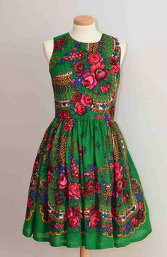 Russian Green flower Dress Folk flower Dress Russian by YesADress