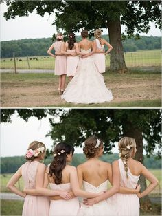 Your dress is a similar color. They went with a more blush pink look and used the flowers to give it more pink. Bridesmaids can be wearing flowers too to make the whole look a little bohemian.
