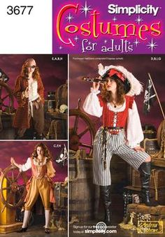 Simplicity Sewing Pattern 3677 Misses Costumes, RR Misses Pirate costumes Simplicity sewing pattern part of Simplicity Early Autumn 2007 collection. Pattern for 9 looks. For sizes RR Pirate Cosplay, Female Pirate Costume, Pirate Costumes, Halloween Costumes, Adult Costumes, Diy Pirate Costume For Women, Halloween Ideas, Pirate Outfits, Ariel Cosplay