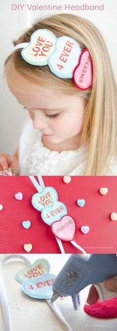 Valentine's Day Conversation Hearts Headband craft idea