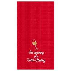 I'm Dreaming of a White Riesling Christmas Wine Glass Waffle Weave Kitchen Hand Towel - Material: Cotton;