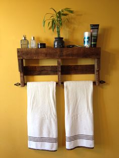 Rustic Pallet Towel Rack Shelf Bathroom by ReformedByLeviathan