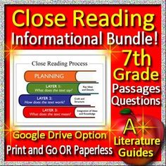 Digital Resource - 3 original 7th grade leveled reading passages and close reading activities perfectly aligned to the Common Core Informational Reading Standards. This is a growing bundle, so buy now while the price is low. 23 additional, original close reading passages and close reading activities will be added in the upcoming months at no extra charge if you buy now.