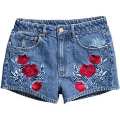 Embroidered Denim Shorts $29.99 (668.610 VND) ❤ liked on Polyvore featuring shorts, highwaist shorts, high-waisted jean shorts, high rise shorts, short jean shorts and denim short shorts