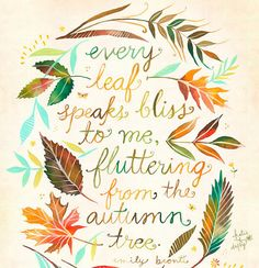 Every leaf speaks bliss to me, fluttering from the autumn tree. - Emily Bronti