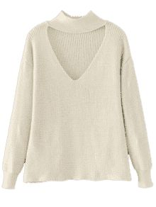 Drop Shoulder Keyhole Neck Sweater