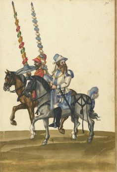 Unknown, illuminator ,Two Horsemen with Lances. German,about 1560 - 1570 Leaf: 43 x 28.9 cm (16 15/16 x 11 3/8 in.),83.MR.184.47