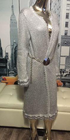 Victoria's Secret/Moda International Silver Metallic Crochet Mohair Sweater M #VictoriasSecret #Sweatercoat