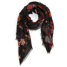Women's Nordstrom Floral Cashmere & Silk Scarf ($99) ❤ liked on Polyvore featuring accessories, scarves, black combo, pure silk scarves, silk scarves, cashmere scarves, floral shawl and woven scarves