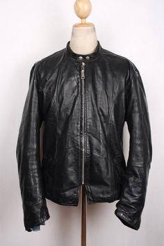 Vtg 60s BROOKS  Gold Label  Steerhide Leather Motorcycle Jacket CAFE RACER