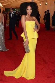 Solange Knowles in Rachel Roy! loving the yellow peplum! #2012MetBall
