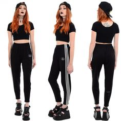 Vintage 90s Black ADIDAS Sporty Health Goth Rave Hip-Hop Athletic... (£53) ❤ liked on Polyvore featuring activewear, activewear pants, track pants, athletic sportswear, adidas sportswear, athletic track pants and vintage sportswear