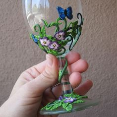 Polymer clay wine glass. For Holiday/seasonal decorations?