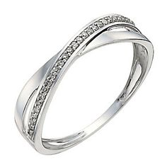 9ct white gold diamond crossover ring - Product number 9908218