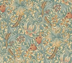 Golden Lily (210401) - Morris Wallpapers - Lily flowers and country blooms wind through this briar leaf design – the ultimate country cottage pattern. Shown in yellows and golds with blue greens.  Please request sample for true colour match.