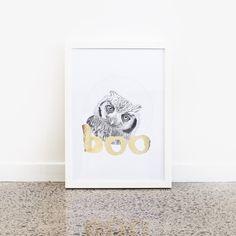 Boo - Gold Foil Print