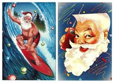 Christmas cards from Paper Moon Graphics. A Los Angeles based greetings card and stationary company started in 1977.  What set them apart from other companies was their creative use of several young airbrush artists who had made LA the center of a bright and breezy illustrative style.       During the seventies and into the eighties their airbrush work was everywhere.  You couldn't pick up a consumer magazine without seeing an airbrush illustration used for an editorial article.