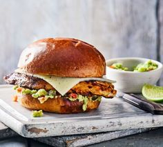 mexican chicken tacos Ready in under 20 minutes, this burger with spiced chipotle chicken breast, in toasted brioche with guacamole, makes for a satisfying weeknight treat for one Bbc Good Food Recipes, Mexican Food Recipes, Cooking Recipes, Healthy Recipes, Ethnic Recipes, Dishes Recipes, Quick Recipes, Mexican Chicken, Chipotle Chicken