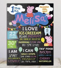 Peppa Pig Birthday Milestone Chalkboard Sign- Birthday poster-Birthday Sign-Any Age - Printable file by miHappyDay on Etsy First Birthday Sign, Happy Birthday, Pig Birthday, 2nd Birthday Parties, Peppa Pig, Chalkboard Poster, Pig Party, Baby Blog, Milestone Birthdays
