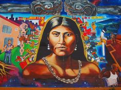 This 60-by-20-foot mural commemorating the life of Toypurina adorns the main wall of Ramona Gardens, a large and well-known public housing complex in East Log Angeles.