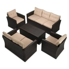 Boyel Living Wicker Outdoor Patio Conversation Furniture Set in Beige - The Home Depot Coffee Table Frame, Coffee Table With Storage, Outdoor Lounge Furniture, Outdoor Seating, Rattan Sofa, Wicker, Beige Cushions, Foam Cushions, Pergola Ideas For Patio