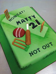 cricket themed cake - Google Search Cricket Birthday Cake, Cricket Cake, Dad Birthday, Birthday Cakes, Birthday Parties, 21st Cake, Sport Cakes, Cakes For Men, Cake Stuff