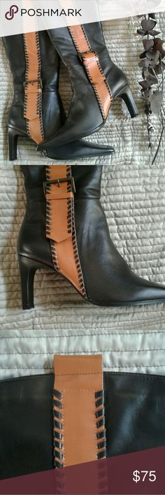 """Fabulous knee-high boot 😍 Women's coffee knee high boots by Werner. Werner products are magnificent and will last forever. Made in Brazil with 100% quality leather. Lined.   Shown with a vertical tan wide stripe with bold brown stitches. Wear these with a pencil skirt and you will call the shots!!! Heel height: 3""""/ width"""" 1"""". Boot width 5"""" (bottom), 7"""" (top). Small elastic give at the top of calf. Brand NEW!!! Werner Shoes Heeled Boots"""