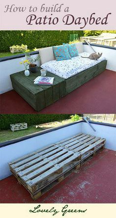 How to build a patio Daybed using recycled timber pallets #diy #diy_pallet #pallet #recycle #repurpose #reuse #timber #garden #aboutthegarden