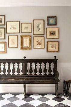 gallery wall & antique pew | interior richard shapiro
