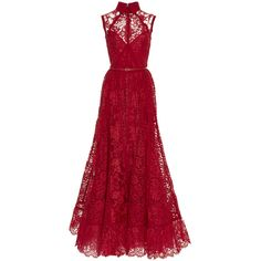 Elie Saab Sleeveless Lace And Silk Georgette Gown (28.420 BRL) ❤ liked on Polyvore featuring dresses, gowns, vestidos, long dresses, long red evening dress, red lace gown, red ball gown, long floral dresses and red evening dresses
