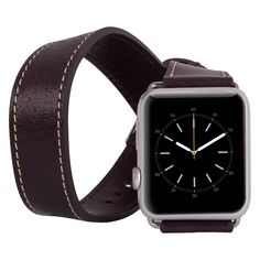Apple Watch Double Tour Genuine Leather Band Strap, Husband Gift Wife Gift, Apple Watch Leather Band 42mm // Plum by IstanbulLeatherShop on Etsy https://www.etsy.com/listing/452679304/apple-watch-double-tour-genuine-leather